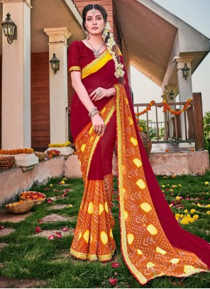Contemporary Saree Embroidered Georgette in Maroon