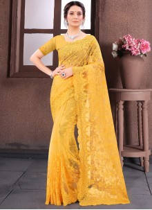 Contemporary Saree Embroidered Net in Mustard