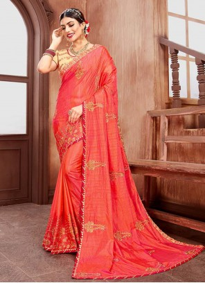 Contemporary Saree Embroidered Silk in Pink