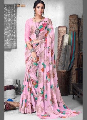 Contemporary Saree Floral Print Faux Chiffon in Pink