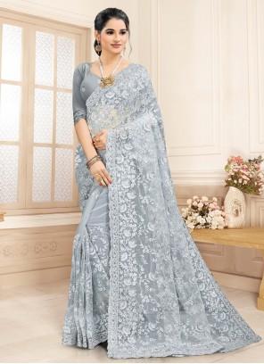 Grey Contemporary Saree For Ceremonial