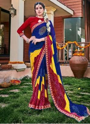 Multi Colour Georgette Contemporary Saree For Party