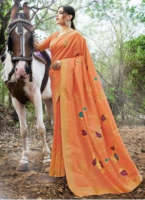 Contemporary Orange Saree For Reception