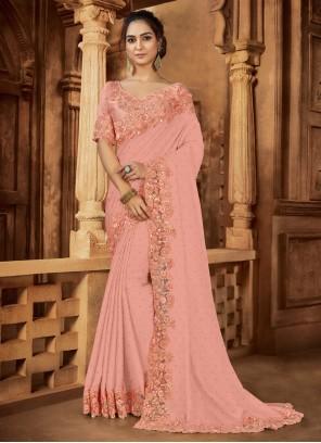 Contemporary Peach Saree For Wedding