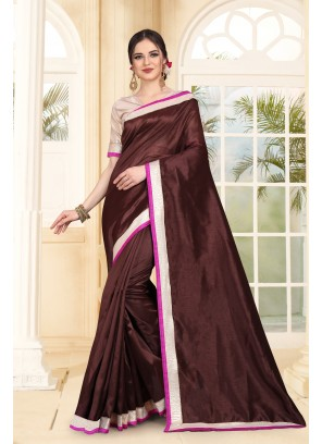 Contemporary Saree Patch Border Art Silk in Brown