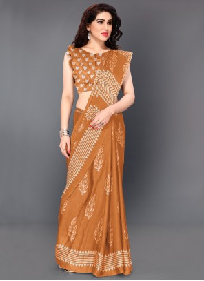 Contemporary Saree Printed Faux Chiffon in Mustard
