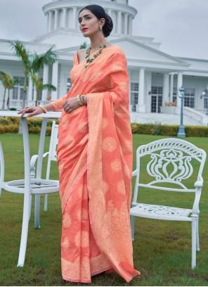 Contemporary Saree Weaving Silk in Peach