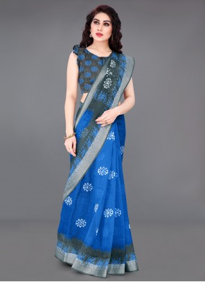 Cotton Abstract Print Blue Saree