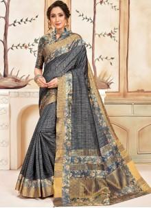 Cotton Abstract Print Grey Traditional Saree