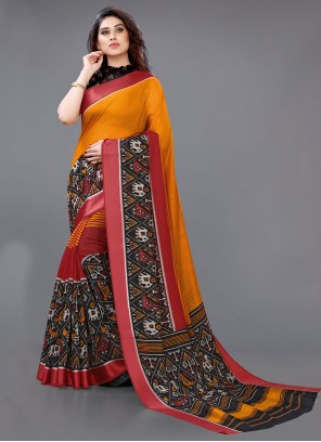 Cotton Abstract Print Multi Colour Saree