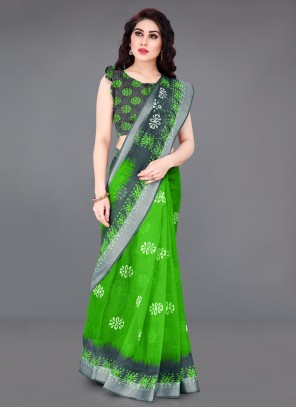 Cotton Abstract Print Green Saree