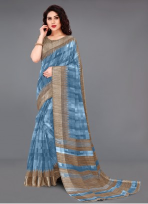 Blue Cotton Abstract Printed Saree in Blue
