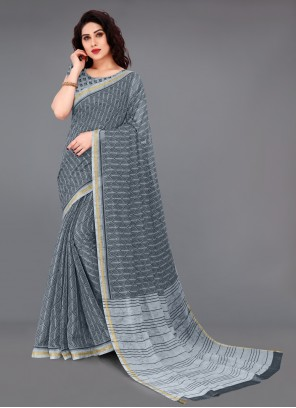 Cotton Abstract Printed Saree in Grey