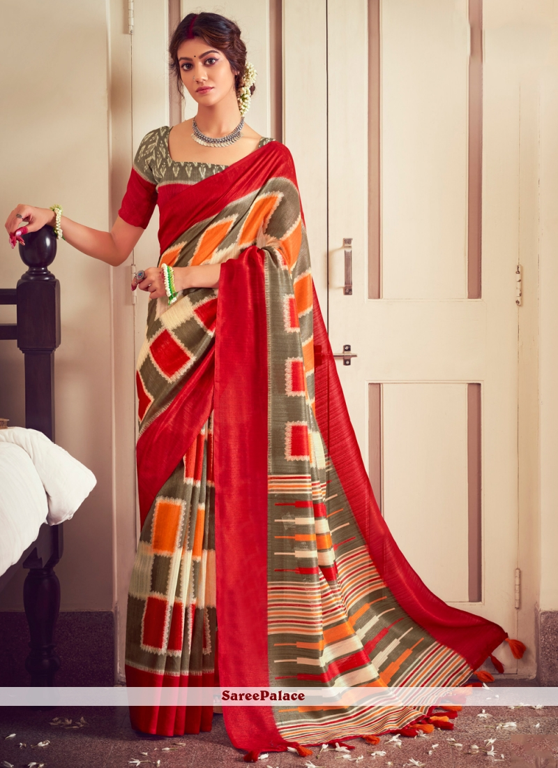 Cotton Abstract Print Saree in Multi Colour