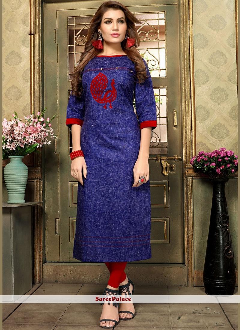 Cotton   Applique Blue Party Wear Kurti