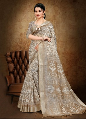 Cotton Abstract Print Beige Printed Saree