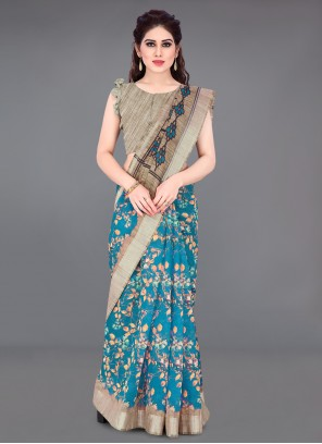 Cotton Beige and Blue Printed Saree