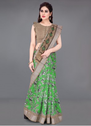 Cotton Beige and Green Printed Printed Saree