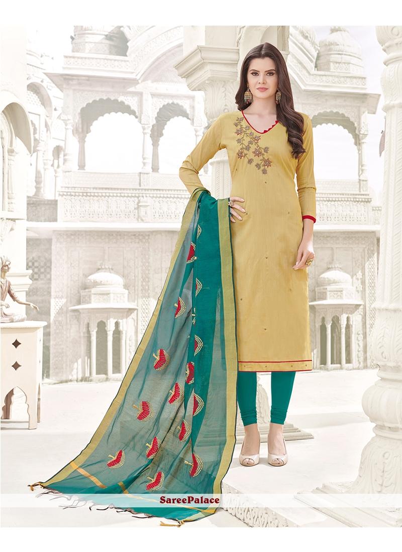Cotton   Beige Churidar Designer Suit