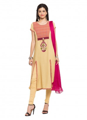 Cotton Beige Embroidered Readymade Salwar Kameez