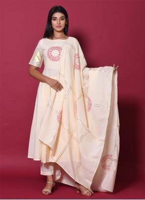 Cotton Beige Pakistani Salwar Kameez