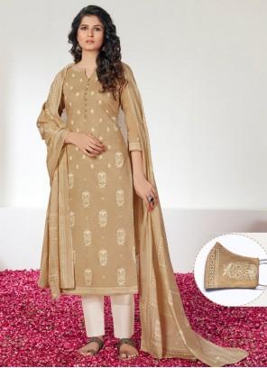 Cotton Beige Print Straight Suit