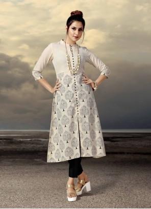 Cotton Beige Printed Designer Kurti
