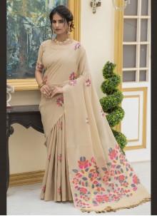 Cotton Beige Trendy Saree