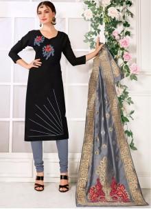 Cotton Black Embroidered Designer Suit