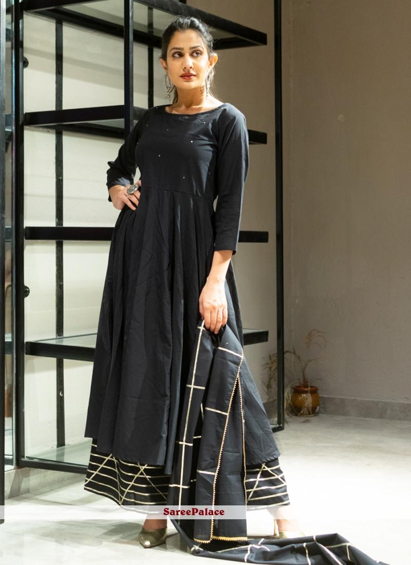 Cotton Black Lace Designer Palazzo Suit
