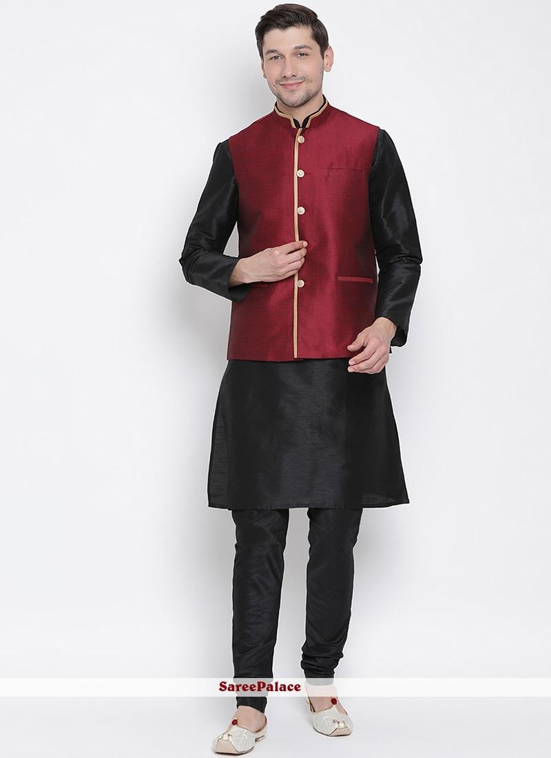 Cotton Black Plain Kurta Payjama With Jacket