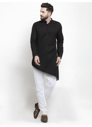 Cotton Black Plain Kurta Pyjama