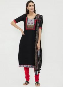 Cotton   Black Print Churidar Suit