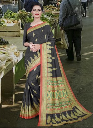 Cotton Black Printed Saree