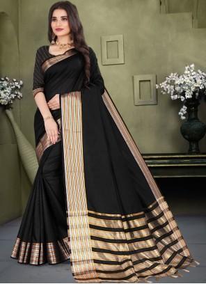 Cotton Black Weaving Classic Saree