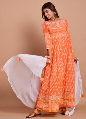 Orange Cotton Block Print Designer Gown