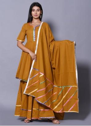 Cotton Block Print Mustard Salwar Suit
