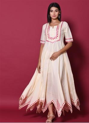 Beige Cotton Block Print Readymade Gown