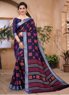 Cotton Blue Abstract Printed Saree