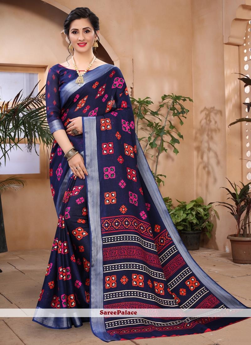 Cotton Blue Abstract Printed Saree