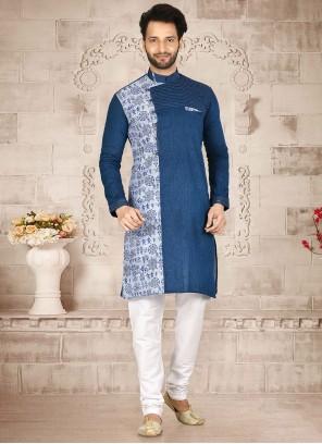 Cotton Blue and Off White Kurta Pyjama