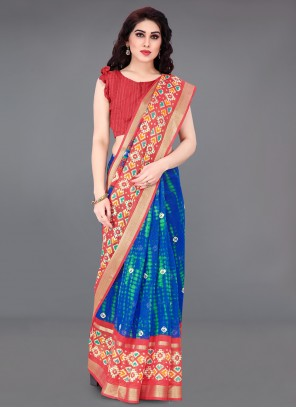 Cotton Blue and Red Printed Saree