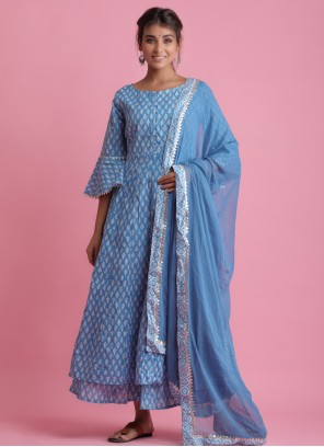 Cotton Blue Block Print Readymade Suit