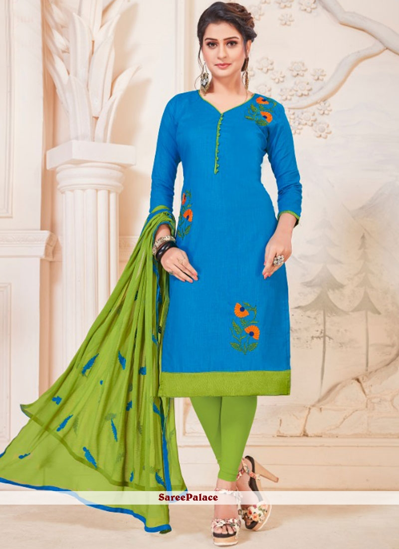 Cotton   Blue Churidar Suit