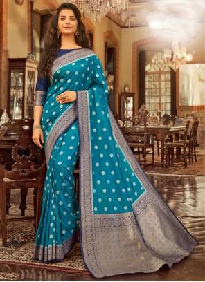 Cotton Blue Designer Saree