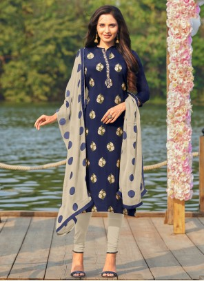 Cotton Blue Embroidered Churidar Designer Suit