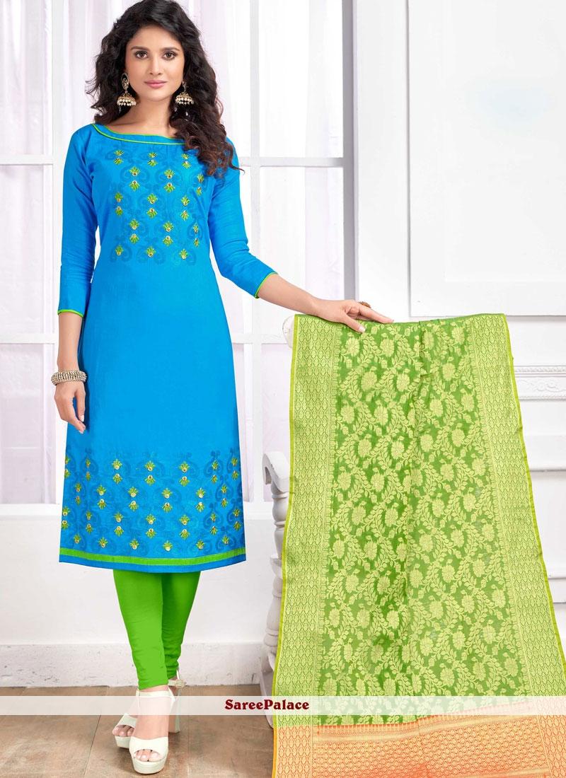 Cotton   Blue Embroidered Churidar Salwar Kameez