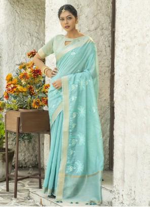 Cotton Blue Embroidered Classic Designer Saree