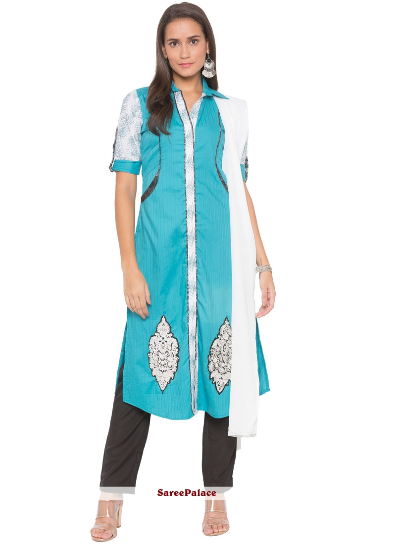 Cotton Blue Embroidered Readymade Suit