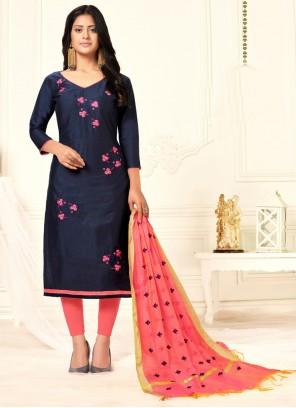 Cotton Blue Embroidered Salwar Kameez